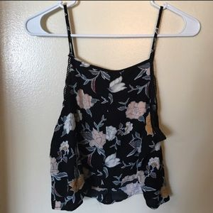 Kendall and Kylie black floral tank top